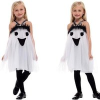 Kids Vampire Horror Blood Teeth Halloween Costume Smock Flared Swing Mini Dress
