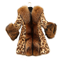 леопардовый мех оптовых-2017 Winter women Sexy Leopard Print faux fur coat Luxurious slim warm  fur jacket warm plus size 5XL coat FP0196