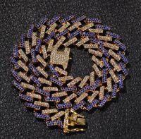 trendy kalça zincirleri toptan satış-15mm 18 K Altın Kaplama Buzlu Iki Ton Miami Küba Link Zinciri Kolye Hip Hop Bling Bling Takı Trendy Moda Whosales