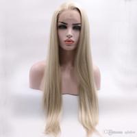 perruques avant de lacets de cheveux mélangés achat en gros de-Front Wigs Blonde __gVirt_NP_NN_NNPS<__ dentelle mixte synthétique Couleur libre Partie Glueless fibres synthétiques cheveux longs blonds droite lacefront perruque pour femmes blanches