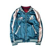 coletes japoneses venda por atacado-Força Aérea dos eua West Coast Retro japonês jaqueta de vôo jaqueta de beisebol dos homens Casal Street Tide De Luxo Bordado Bomber Jacket