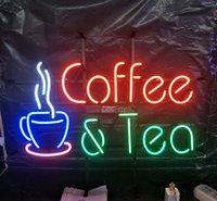 café da luz de néon venda por atacado-Café e Chá de Sinal de Néon Luz Publicidade Bar Clube de Entretenimento Decoração Exibição de Arte Real de Vidro Lâmpada de Néon de Metal Frame 17 '' 24 '' 30''40 ''