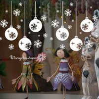 Wholesale black decoration stickers resale online - 2019 New Year Wall Stickers Santa Murals Reindeer Shop Window Stickers Decorated Christmas Snowflake Decorations for Home Glass