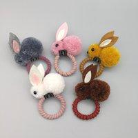 bunny klipleri toptan satış-Küçük Sevimli Stereoskopik Bunny Peluş Tavşan Kulak Saç Klip Keçe Saç Halka Kadın Baş Halat çocuk Saç Aksesuarları