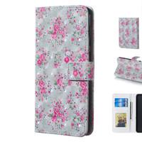 beau téléphone design achat en gros de-Belle 3D Trois Dimensions Rose Fleur Conception Mobile Phone Protector Case Cover avec Portefeuille Fente Pour Carte Cadre Photo