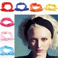 Wholesale cute rabbit ear hair bands resale online - Mother and daughter Bunny ear hair band female women girl children pure solid color design rabbit ear sweet Cute Headband headwear