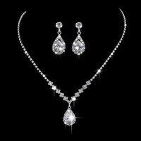 Wholesale bridal silver jewelry chain set for sale - Group buy Earrings And Necklace Hot Style yiwu Fashion OL Irregular Claw Chain Diamond Necklace Earrings Bridal Jewelry Set