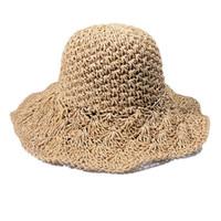 häkeln sonne großhandel-Womens Frühling Sommer Panama Jack Hut verstellbarer Sun Beach Big Brim Strohhut gehäkelt Toyo Sun.
