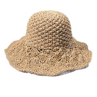 ingrosso grandi prese-Womens Spring Summer Panama Jack Hat Regolabile Sun Beach Cappello a tesa larga Cappello all'uncinetto Sun