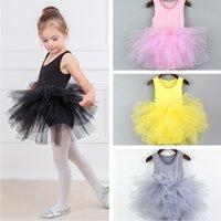 bale giysileri kız toptan satış-Sevimli Kız Dantel Giyim Dans Etekler Çocuk Performans Giyim Çocuk Bale Etek Dantel Tül Elbise Bebek Sunmmer Sling Elbise TTA684