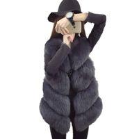 hombres abajo chaleco naranja al por mayor-Visón abrigo de piel sintética chalecos de las mujeres 2017 de lujo cálido chaleco otoño invierno chaqueta de las mujeres chalecos abrigo de piel moda mujer chaleco largo