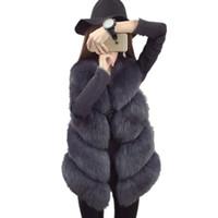 chaleco de piel de visón para mujer al por mayor-Visón abrigo de piel sintética chalecos de las mujeres 2017 de lujo cálido chaleco otoño invierno chaqueta de las mujeres chalecos abrigo de piel moda mujer chaleco largo