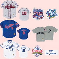 neue stadt trikots großhandel-Kansas City BO JACKSON Royals 1989 Jersey Montreal Ausstellungen 1992 Gary Carter Braves # 10 New Yorker Mickey Mantle Throwbacks Jersey