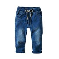 pantalones de moda occidental al por mayor-Chicos lindos Moda Vintage Pantalones de mezclilla Color azul Primavera Verano Otoño Moda occidental Pantalones casuales