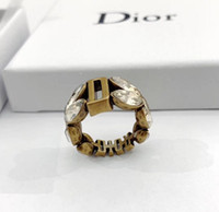 Wholesale woman wearing rings resale online - 2019 Famous Luxury Designer Retro Copper Color Engatement Rings for Women Double Side Wear Ring wity Crystal Jewelry with Box