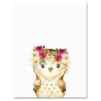 Wholesale pictures cartoon flowers for wall resale online - Watercolor Woodland Animals Wall Art Canvas Painting Floral Flower Poster Prints Nordic Kids Decoration Picture for Baby Room