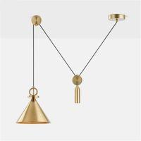 Wholesale pulley pendant lights online - 2019 New pulley lighting Brushed Brass chandelier Modern Metal adjusted Ceiling Pendant Lighting Fixture Nordic lustre lamp V