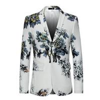 Wholesale mens suit costumes for sale - Fashion White Floral Print Suit Blazer Men Luxury Brand Mens Blazer Jacket Casual Wedding Party Stage Singer Costume Homme