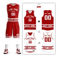 trajes de pelota de los hombres al por mayor-Bricolaje camisetas de baloncesto Conjunto uniformes kits niños hombres de doble cara bola cortos traje ropa deportiva al por mayor