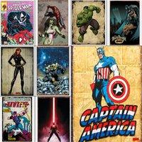 autocollants de héros achat en gros de-Gros signes en métal peinture détective bandes dessinées super héros Batman Vintage Stickers muraux Art décoration fer peinture plaque 20 * 30 cm