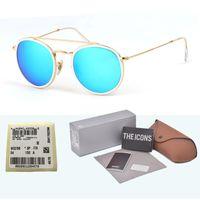 yuvarlak steampunk güneş gözlüğü gözlükleri toptan satış-Marka Tasarımcısı cam lens Yuvarlak Güneş Erkekler Kadınlar Steampunk Gözlüğü Moda Retro Vintage Güneş gözlükleri ile ücretsiz kılıfları ve kutu