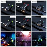 Wholesale cycling bike light set online - 4000mAh Induction Bicycle Front Light Set USB Rechargeable Smart Headlight With Horn Lumen LED Bike Lamp Cycle FlashLight LJJZ59