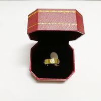 caixa de porcelana de aço inoxidável venda por atacado-Anel de amor de Aço Inoxidável de ouro rosa Com Cristal Para A Mulher Anéis de Casamento Anéis de Promessa de Casamento Para Mulheres Mulheres Presente de Noivado com caixa