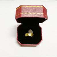 bagues en or achat en gros de-Rose or en acier inoxydable bague d'amour en cristal pour femme bijoux bagues hommes promesse de mariage bagues pour femmes femmes cadeau fiançailles avec boîte