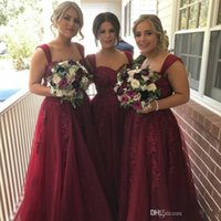 Wholesale elegant sweetheart lace wedding dress resale online - 2019 Elegant Sweetheart Bridesmaid Dresses Burgundy Lace Appliques A Line Wedding Guest Dress Floor Length Cheap Formal Party Gowns