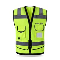 Wholesale reflective construction clothing resale online - Reflective Vest Multi pocket road construction Land safety protection marquee traffic fluorescence warning clothes