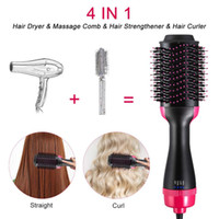 Wholesale iron handles resale online - Professional Hair Dryer Brush Volumizer Blow straightener and curler salon in Electric Hot Air Curling Iron comb