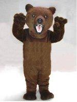 erwachsene kostüm tragen outfit großhandel-Braune haarige bären maskottchen Erwachsene Größe Cartoon Charakter Karneval Party Outfit Anzug Kostüm