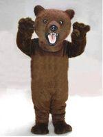 kahverengi takım elbise toptan satış-Yüksek kaliteli kahverengi tüylü ayı maskot Yetişkin Boyutu Karikatür Karakter Karnaval Parti Kıyafet Suit Fantezi Elbise