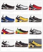 zapatos de goma transpirable para hombre al por mayor-Nuevos zapatos de diseñador Sorrento Sneaker Hombre Fabric Stretch Jersey Slip-on Sneaker Lady Two-tone Rubber Micro Sole Transpirable Casual Shoes