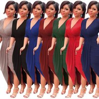 robes longues asymétriques serrées achat en gros de-2019 lanière serrée à manches longues Club Party Dress pour les femmes sexy froncé moulante asymétrique ourlet col en V robes midi robes simples