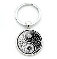 Wholesale china best friend resale online - China Yin Yang Keychain Glass Cabochon Key Chains Best Friends Key Chain For Keys Car Bag TaiChi Sign Key Ring Jewelry BFF Friendship