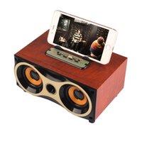 alto-falantes estéreo bluetooth venda por atacado-XM-6 Desktop Sem Fio Bluetooth Speakers Subwoofer Stero Madeira Som Suporte FM Radio MP3 AUX USB Handsfree