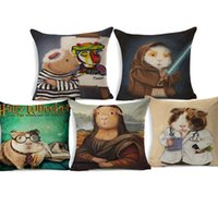 ingrosso pittura ad olio per la decorazione della camera da letto-Guinea Pig Costumes Cushion Covers Lovely Famous Cosplay Oil Painting Cotone Lino Pillow Case 45X45cm Bedroom Sofa Decoration