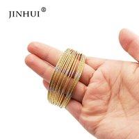 pulseras de plata africana al por mayor-Jin Hui pulseras de oro de color plata de cobre para joyería de la boda Mujeres Dubai novia regalo del brazalete de la pulsera de Oriente Medio de África