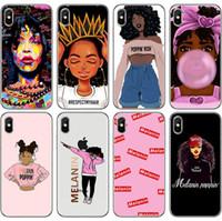 casas de chicas al por mayor-Teléfono iPhone Shell Custom Wholesale Melanin Poppin Caja de teléfono de moda pintada a mano Chica de la muchacha Material del teléfono TPU