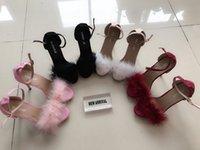 kadınlar sandalet arası toptan satış-Koovan Kadınlar Sandalet Kürk Yeni Moda Peluş Balık Ağız Yüksek Topuklar 11cm Sandalet Büyük Beden Ayakkabı Sınır Lady