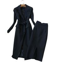 etek kürk toptan satış-Moda Suit Kadın Sonbahar Yeni Kore Sürüm İnce Uzun Kollu Suit Trençkot ve Yüksek belli etek İki parçalı