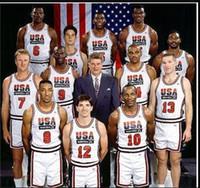 один трикотаж оптовых-Колледж 1992 США Команда Dream Team One Баскетбол 12 Джон Стоктон Джерси 4 Кристиан Леттнер 11 Карл Мэлоун 13 Крис Маллин 15 Джонсон