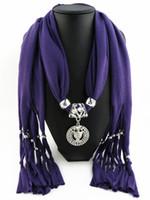 cachecóis pendentes corujas venda por atacado-Nova Moda Elegante Mulheres Senhoras Colar Lenços Coruja Pingente de Jóias Borlas Cachecol Femme Foco Do Partido Acessórios