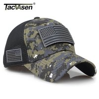 taktischen usa-flagge patch groihandel-TACVASEN Tactical Camouflage Baseball Caps Männer Sommer Mesh Armee Caps Constructed Trucker Cap Hüte Mit USA Flag Patches