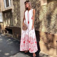 boho saçak elbisesi toptan satış-Beyaz Uzun Yaz Elbise Kadınlar Artı boyutu Elbise Bayanlar Fringe Boho Elbise Kolsuz Çiçek Plaj Maxi Elbise 3XL Sundress
