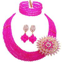 ingrosso collana di rosa calda dei branelli-vendita all'ingrosso Classic Fashion Nigeria Wedding Africa Beads Jewelry Set Hot Pink Collana Braccialetto Set di gioielli da sposa MH-15