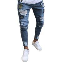 männer s bestickte jeans großhandel-Fashion Street Wear Herren Jeans Trend Knie Knie Loch Zerrissene Jeans Hosen Gestickte Mens Skinny Elastic Pencil Pants