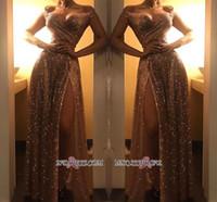 robes de soirée scintillantes achat en gros de-Dubaï 2020 Sparkly Off épaule or robes de soirée paillettes arabe Sexy avant Split Prom robe de soirée formelle porte pas cher BC1409 Robe De Soir