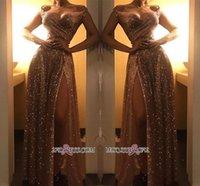 vestido formal e brilhante venda por atacado-Dubai 2020 Sparkly Fora Do Ombro Vestidos De Noite De Lantejoulas De Ouro Árabe Sexy Frente Dividir Prom Vestidos De Festa Formais Desgaste Barato BC1409 Robe De Soir